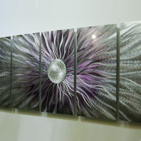 "Huge Purple Modern Abstract Metal Wall Art Painting Sculpture ""royal Blush 2"""