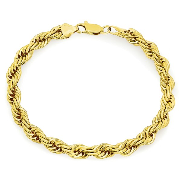 7mm 14k Gold Plated French Rope Chain