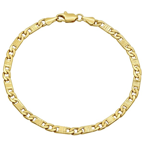 4mm 14k Gold Plated Fancy Mariner Link Chain