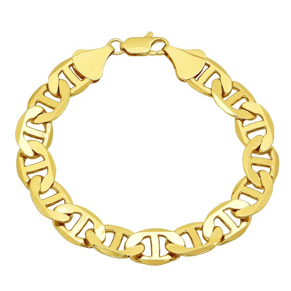 12mm 14k Gold Plated Mariner Link Chain