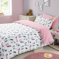 Childrens Duvet Cover with Pillowcase Bedding Set Cat