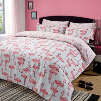 Dreamscene Flamingo Quilt Duvet Cover with Pillowcase Pink ...