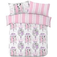 Llama Drama Stripe Duvet Cover with Pillowcase Animal
