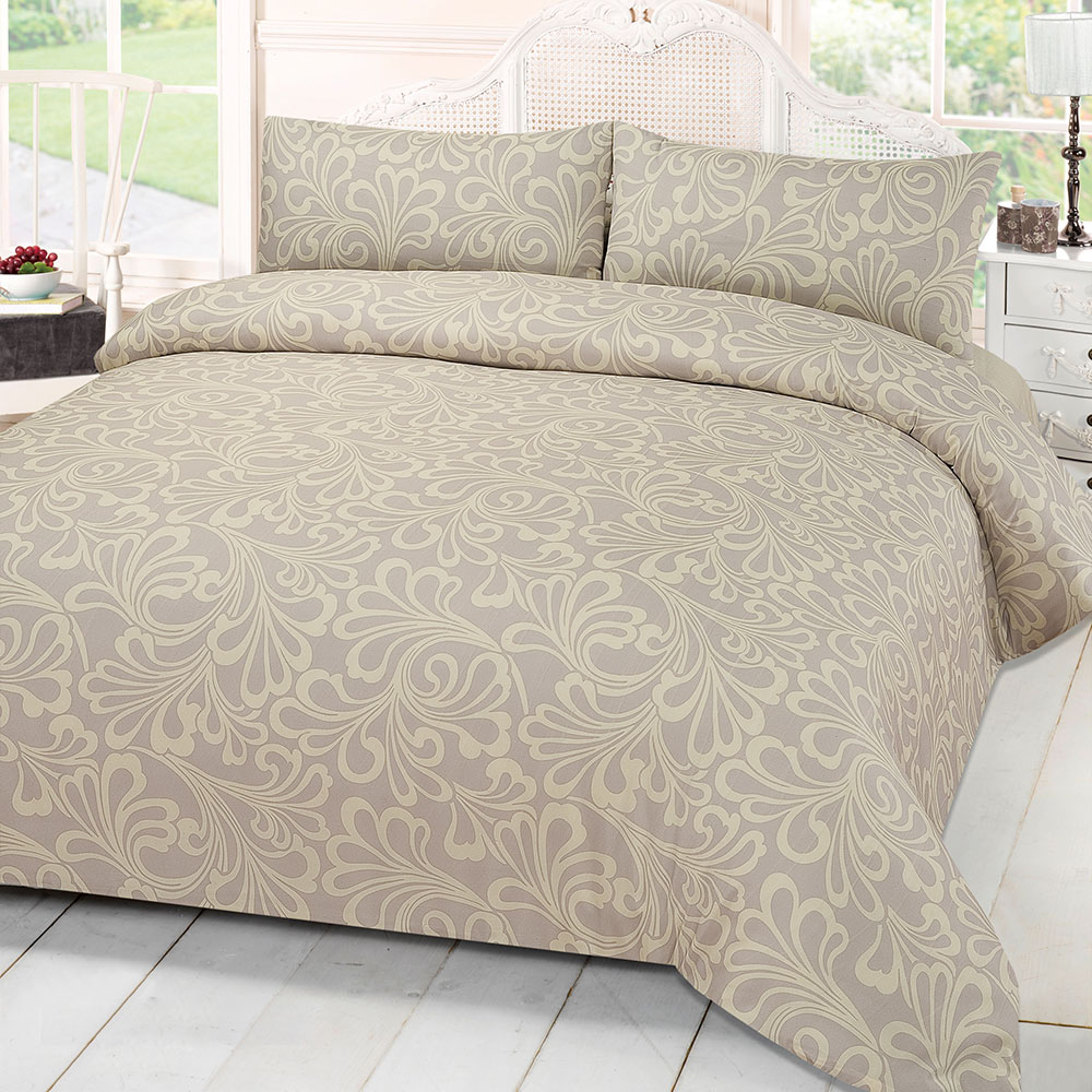 Damask Print Quilt Duvet Cover With Pillowcase Bedding Set