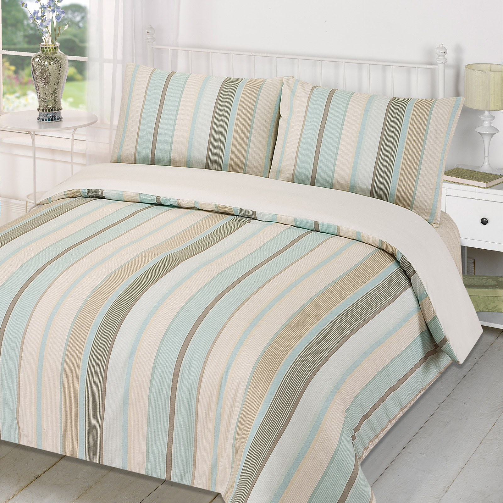 Duvet Quilt Cover with Pillowcase Bedding Set Tenby Stripe