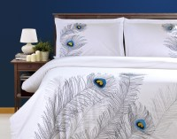 Duvet Cover Set With Pillow Shams, Embroidered Feather
