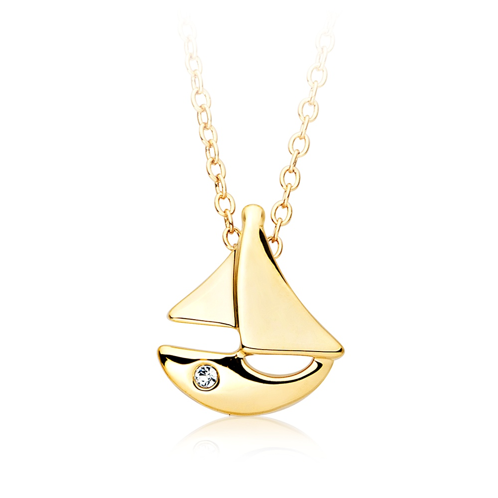 Sailing Boat Necklace 18k Gold Plated Nautical Good Luck