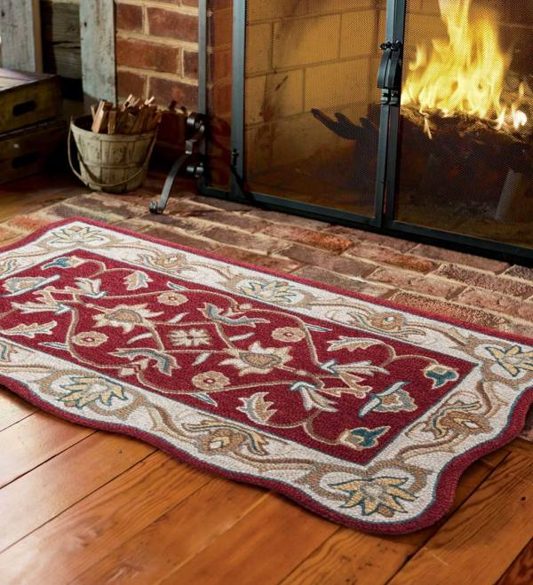 Handtufted Fire Resistant Scalloped Wool Mclean Hearth Rug
