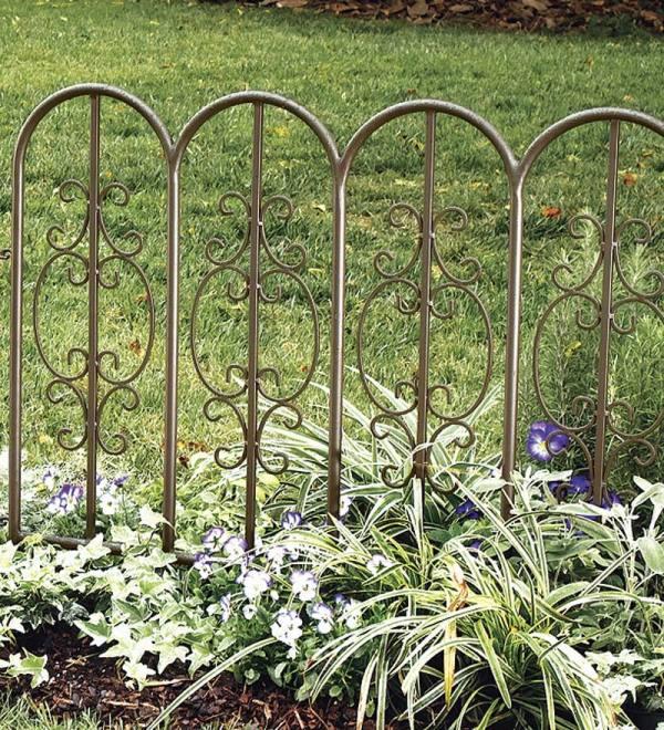 Montebello Outdoor Decorative Garden Fence Set Of 4 Iron