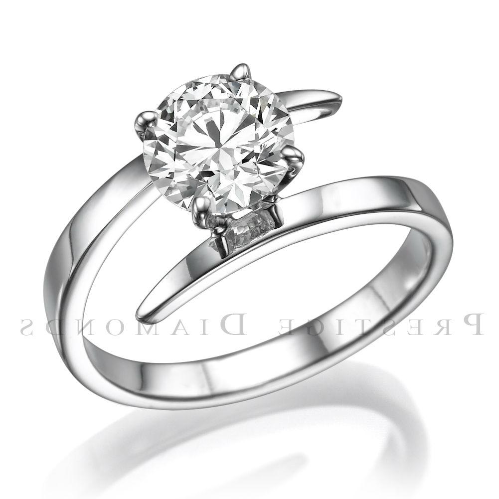 DIAMOND ROUND CUT RING JEWELRY 14 KARAT WHITE GOLD REAL 4 PRONGS SI1 D 12 CARAT  eBay