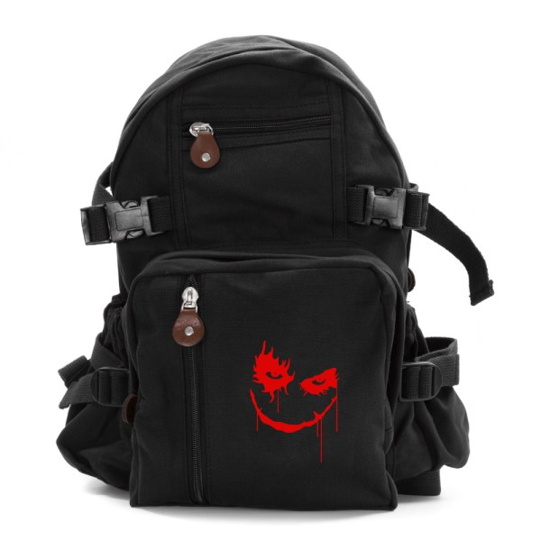 Joker Face Army Sport Heavyweight Canvas Backpack Bag