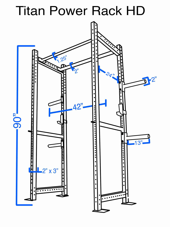Titan HD Power Rack Squat Deadlift Lift Cage Bench stand