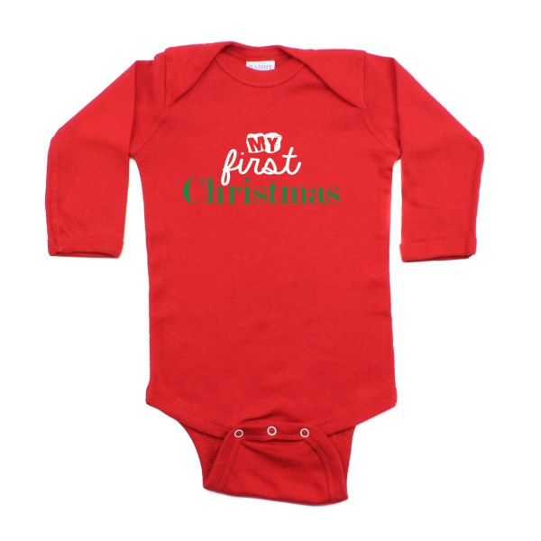 Crazy Baby Clothing My First Christmas One Piece Long