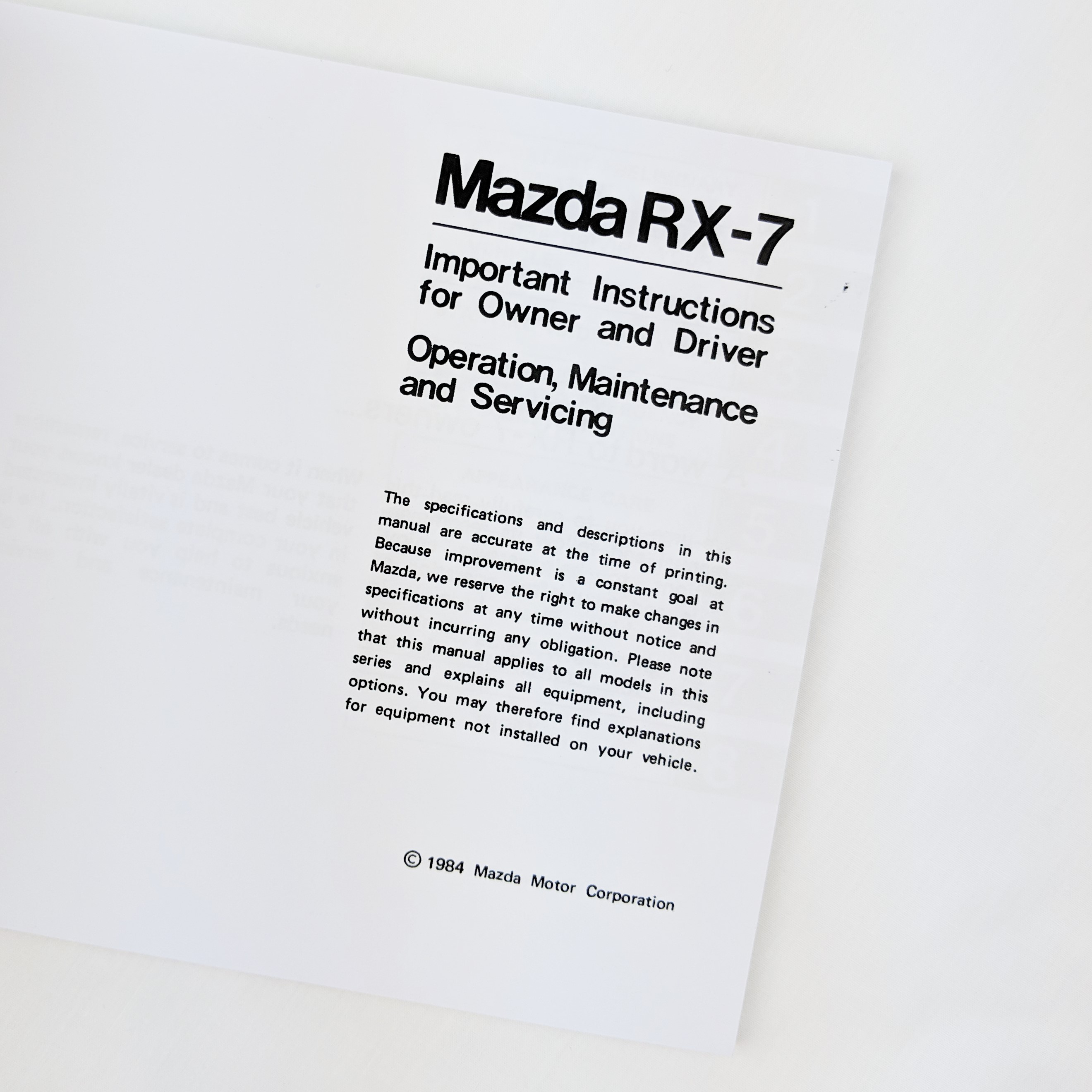 New Genuine Mazda RX-7 Owners Manual RX7 Handbook 1984