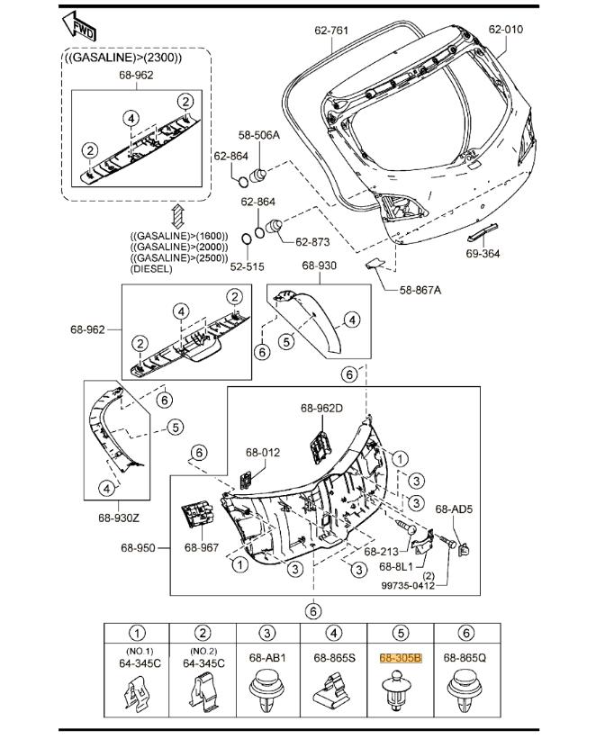 New Genuine Mazda 3 BK BL 6 GH Parcel Shelf Hanger Pin