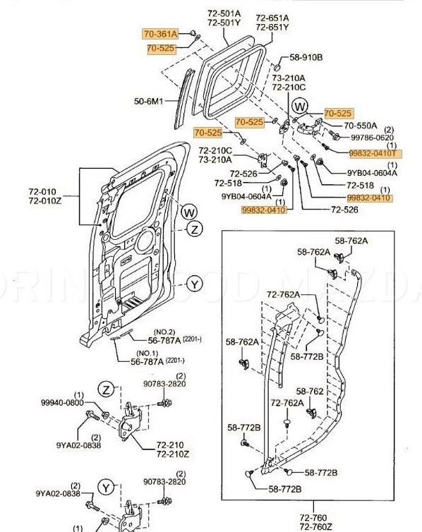 New Genuine Mazda Bravo BT50 UN Rear Window Hinge Bolt Kit