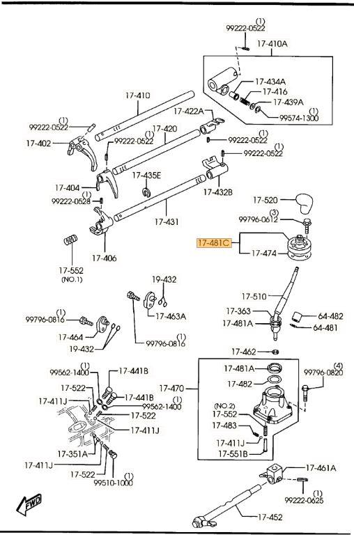 New Genuine Mazda Bravo B2600 B2500 BT-50 Lower Gear Shift