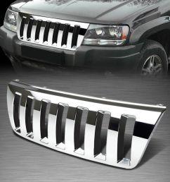 jeep xj custom grill for 99 04 jeep grand cherokee wj abs plastic chrome [ 1200 x 1200 Pixel ]