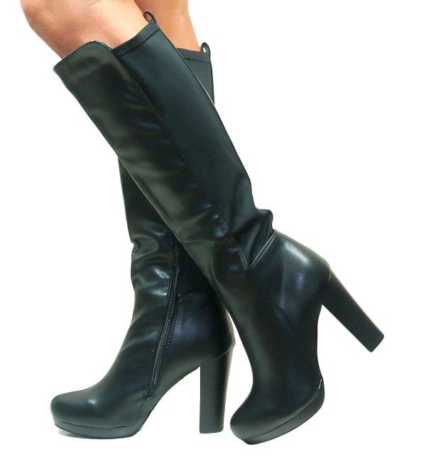 Womens Ladies High Heel Over Knee Stretch Riding Calf