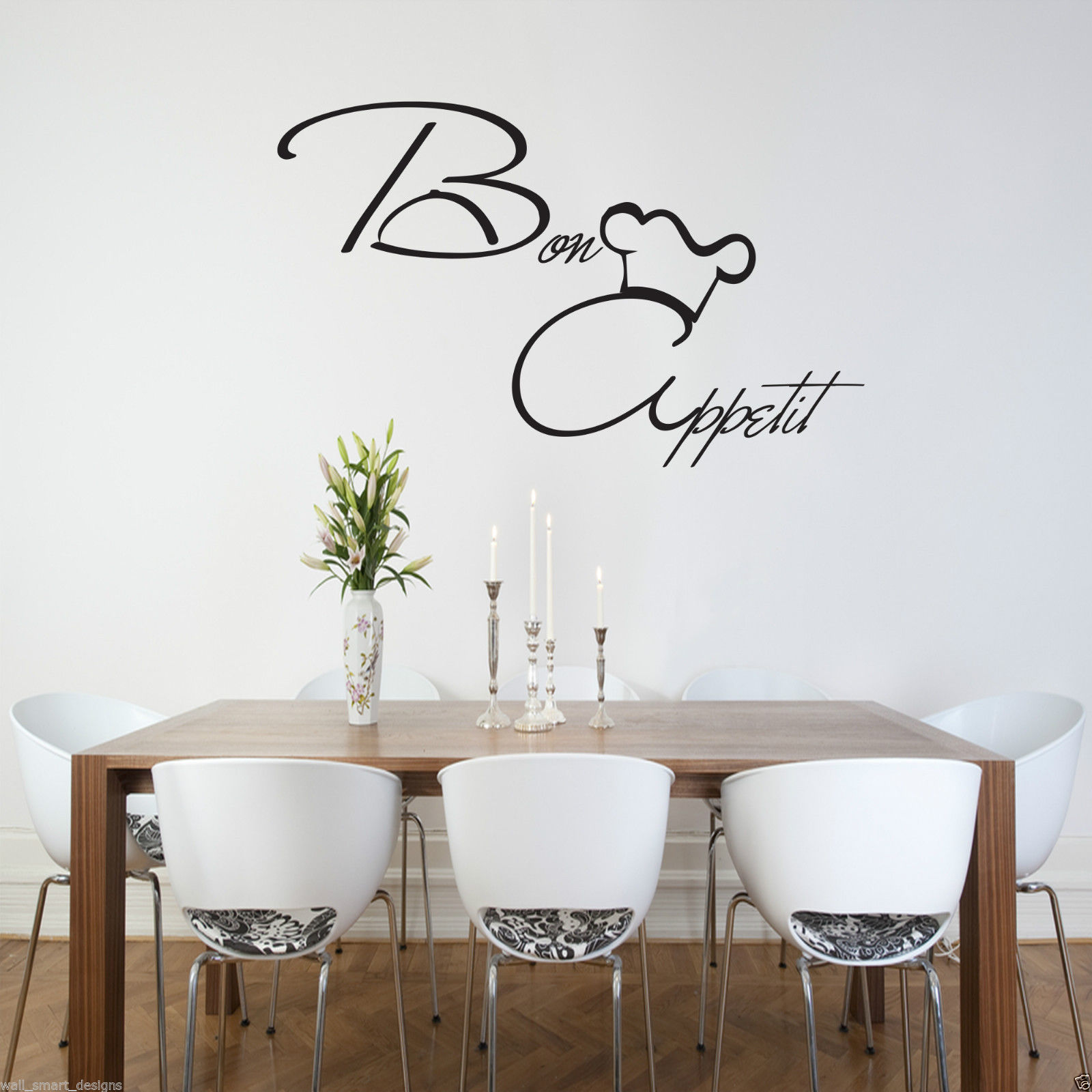 kitchen vinyl retro tables and chairs bon appetit wall art sticker quote decal mural stencil transfer