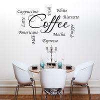 COFFEE WORDS PHRASES KITCHEN Wall Art Sticker Lounge Quote ...