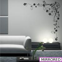 Corner Flower Vine Hibiscus Wall Art Sticker Vinyl ...