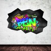 FULL COLOUR PERSONALISED 3D GRAFFITI NAME CRACKED WALL ART ...