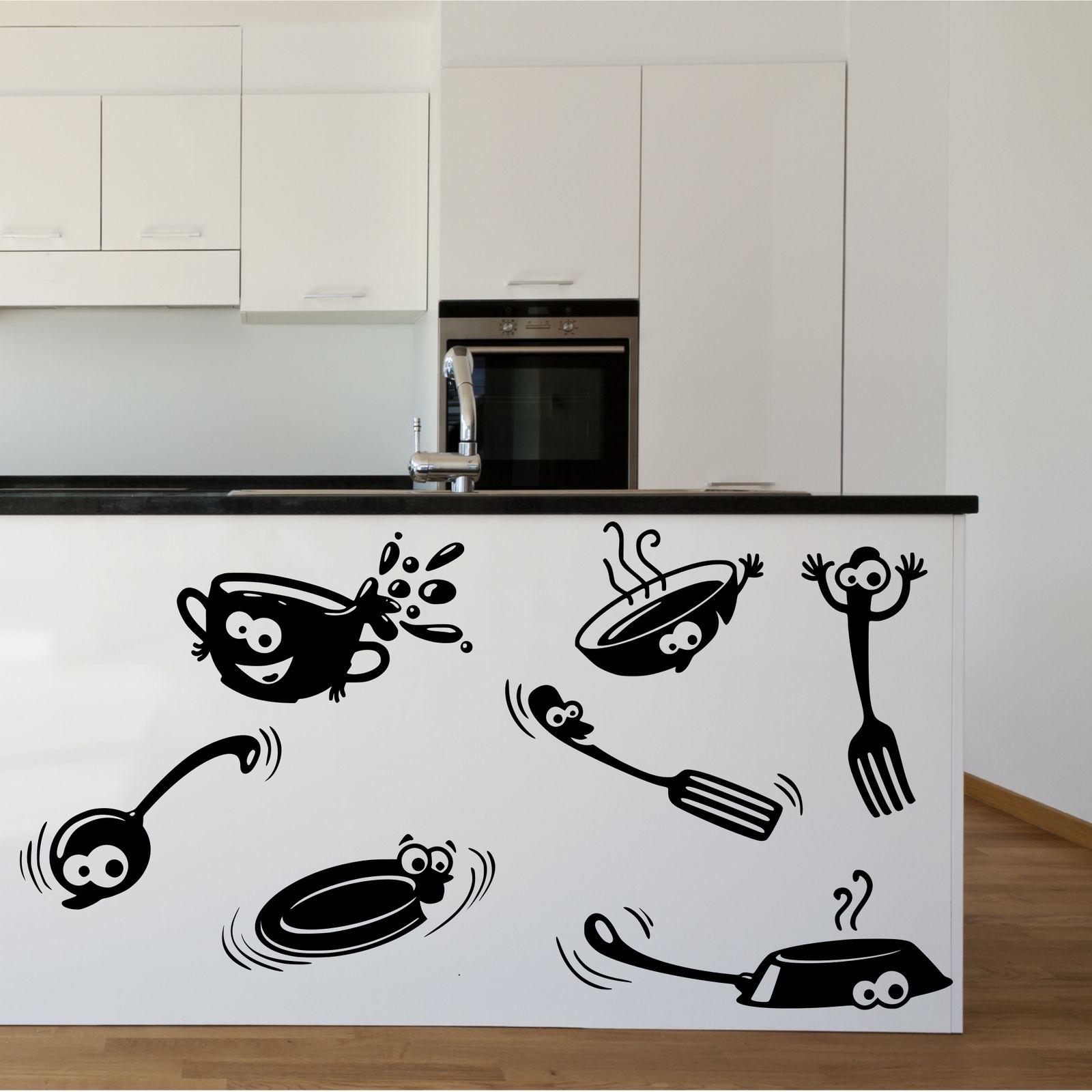 Kitchen Cupboard Cartoon Stickers Vinyl Wall Art Decal