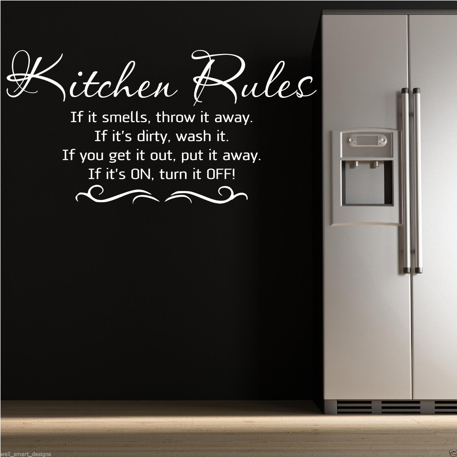 KITCHEN RULES Wall Art Sticker Kitchen Quote Decal Mural