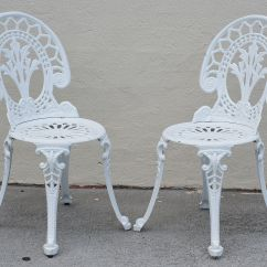Cast Iron Outdoor Chairs Sofa Chair Covers Nz Aluminium Bistro Table Setting Ebay