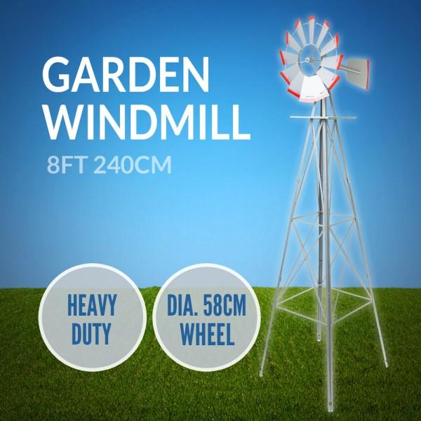 Garden Windmill 240cm Metal 8 Ft Decorative Ornamental