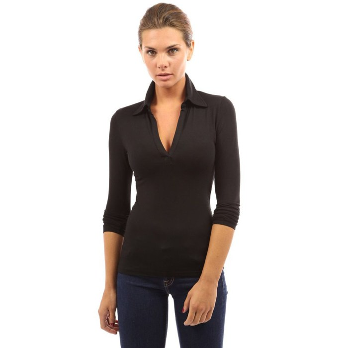 Womens V Neck Polo Shirt Long Sleeve Slim Fit Casual
