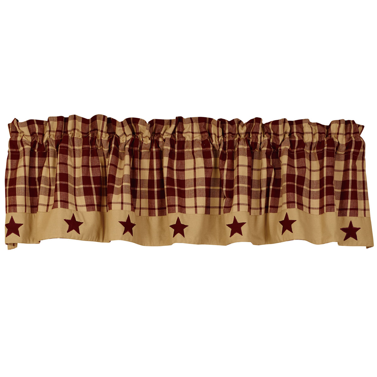 Primitive Farmhouse Star Appliqued Lined Valance Black