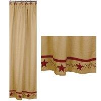 Primitive Star Vine Cotton Burlap Country Shower Curtain ...