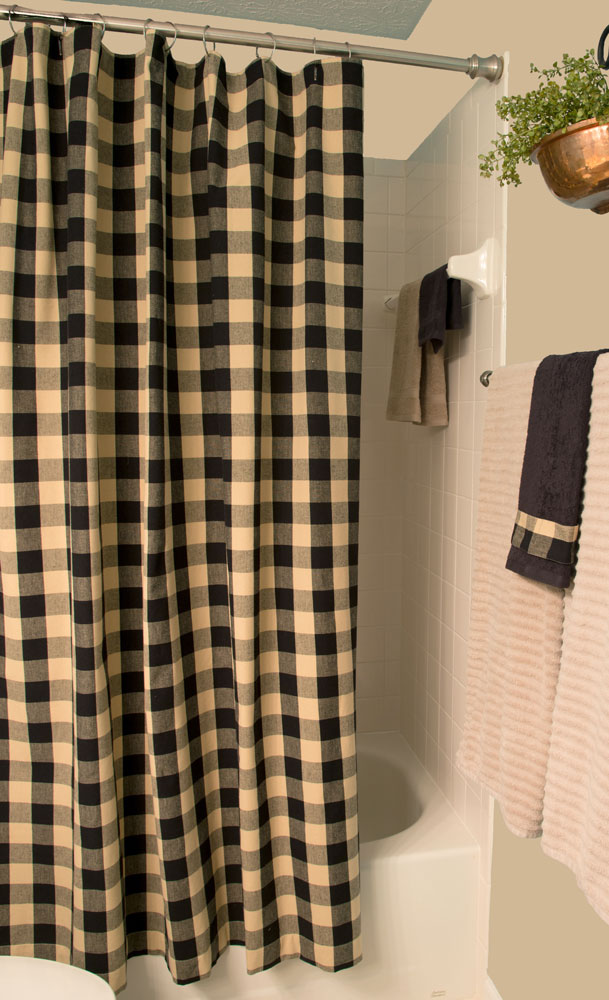 https www ebay com itm buffalo check black tan shower curtain by primitive home decors 274609563159