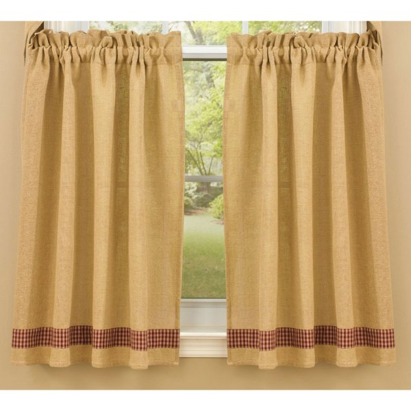 Check Curtain Tiers and Burlap