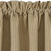 Black and Tan Ticking Stripe Curtain Tiers Primitive Star ...