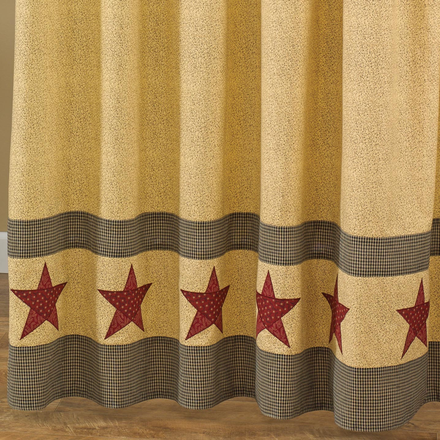 details about country star shower curtain tan black red 72x72 cotton