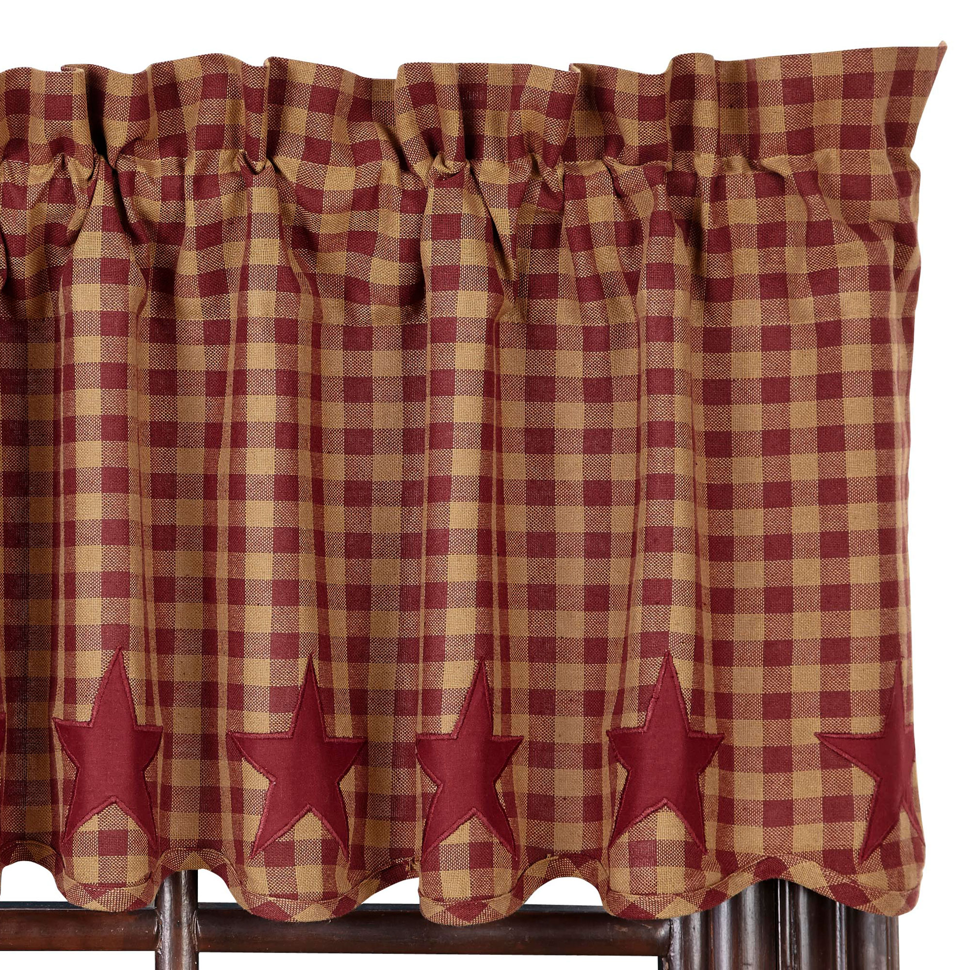 Star And Check Scalloped Country Curtain Valance Navy