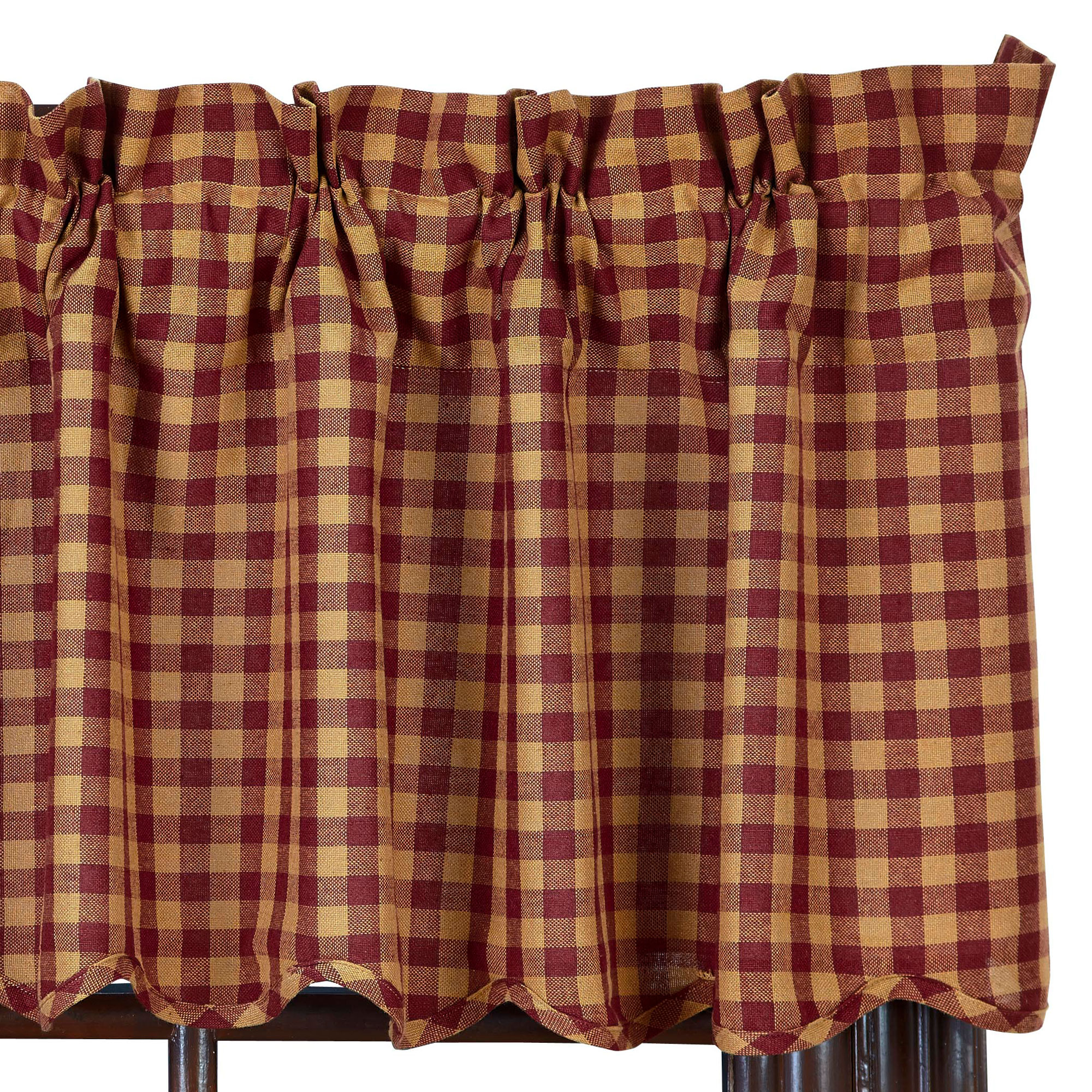 Check Scalloped Country Curtain Valance Navy Or Burgundy