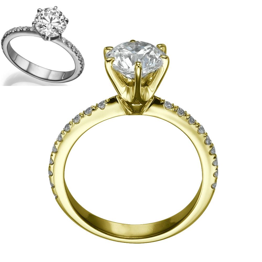 ROUND DIAMOND RING 139 CARAT 18 KT YELLOW GOLD 6 PRONGS SI1 RB SIZE 45 6 75 9  eBay