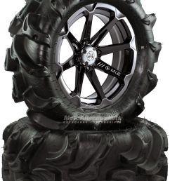 msa diesel 14 atv wheels on 27 mega mayhem tires for sportsman xp scrambler [ 1100 x 1600 Pixel ]