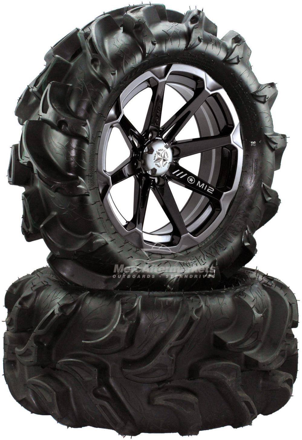medium resolution of msa diesel 14 atv wheels on 27 mega mayhem tires for sportsman xp scrambler