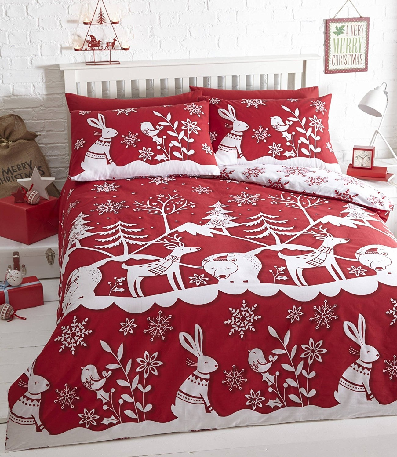 ebay uk christmas chair covers foot pads father duvet cover set tree santa snowman angels
