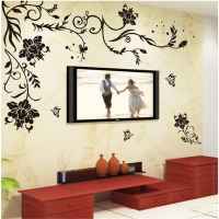 Large Black Damask Floral Butterfly Mural Removable Wall ...