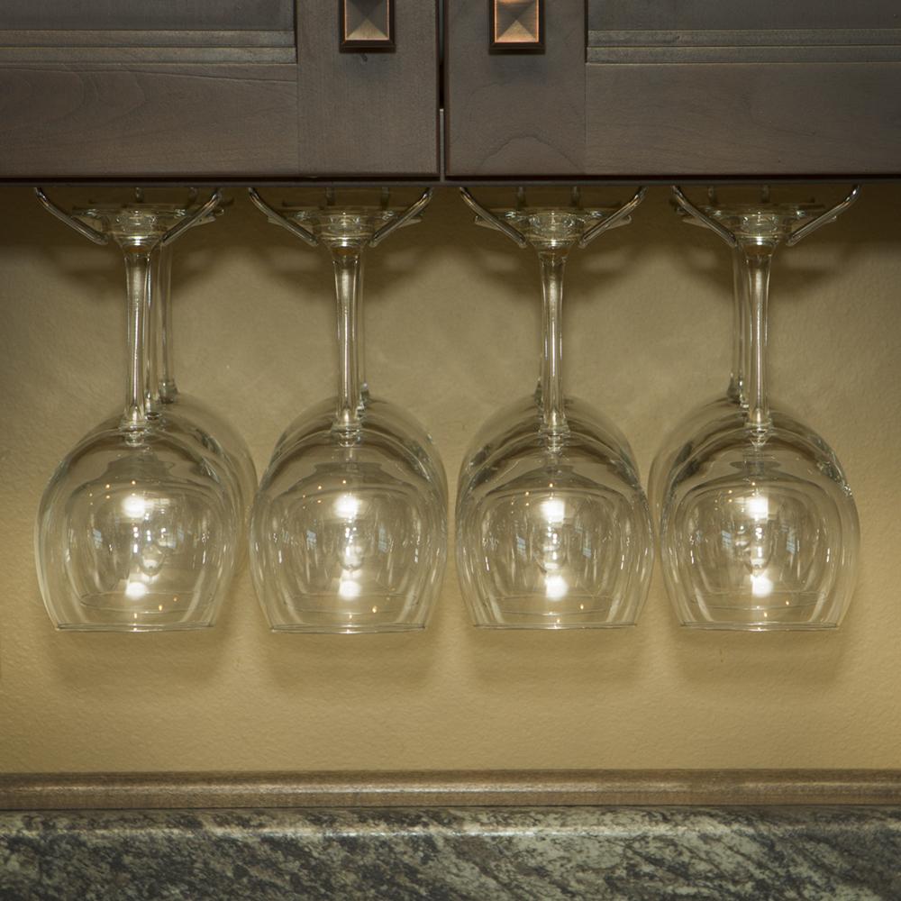 Wine Glass Rack, Under Cabinet Stemware Holder, Holds 6 to
