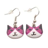 1 Pair Cute Colored Cat Dangle Stud Earrings Hooks Women ...