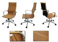 New Tan Modern Executive Ergonomic Ribbed High Back ...