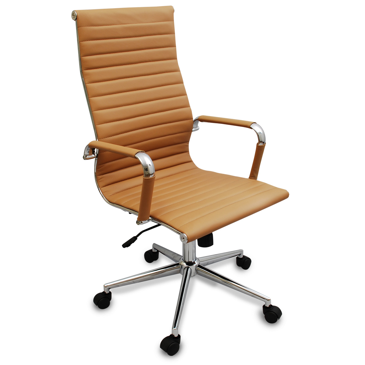 Executive Chairs New Tan Modern Executive Ergonomic Ribbed High Back