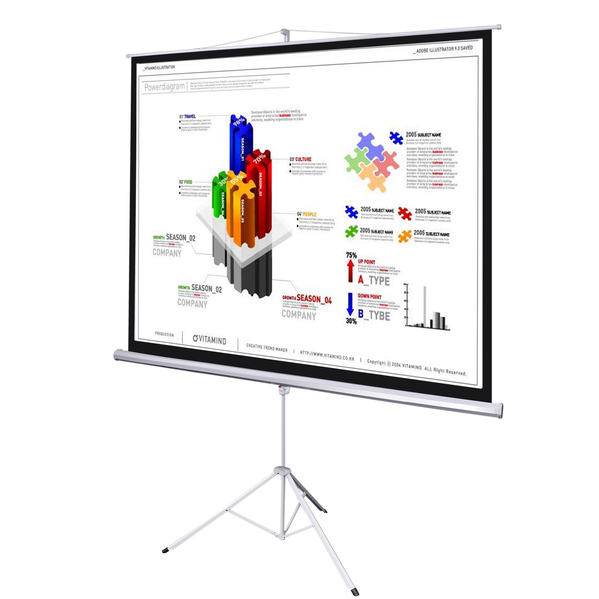 70 Portable Projection Screen Tripod Stand Projector